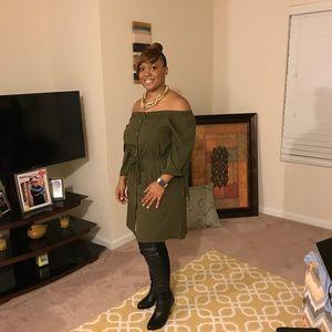 Dresses & Skirts - Off shoulder Army green dress